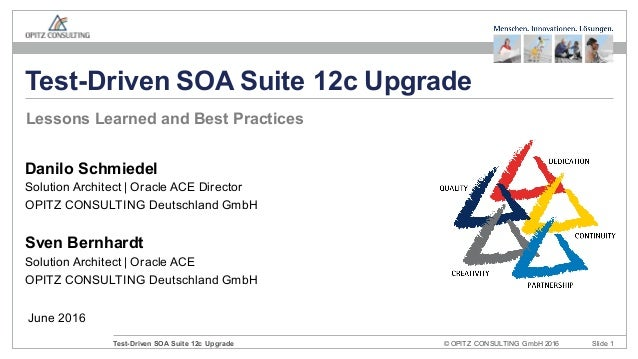 © OPITZ CONSULTING GmbH 2016 Slide 1Test-Driven SOA Suite 12c Upgrade June 2016 Test-Driven SOA Suite 12c Upgrade Danilo S...