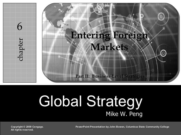 Entering Foreign Markets Part II:  Business-Level Strategies Global Strategy Mike W. Peng chapter 6