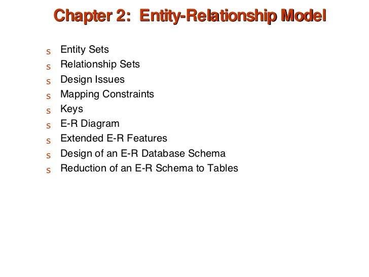Chapter 2:  Entity-Relationship Model <ul><li>Entity Sets </li></ul><ul><li>Relationship Sets </li></ul><ul><li>Design Iss...