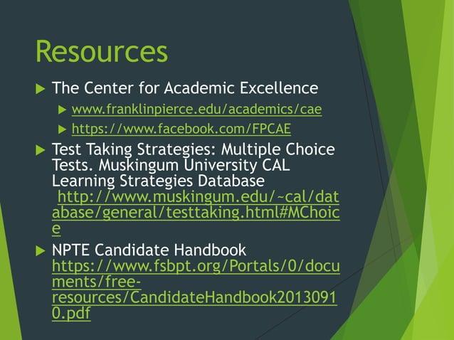 Resources  The Center for Academic Excellence  www.franklinpierce.edu/academics/cae  https://www.facebook.com/FPCAE  T...