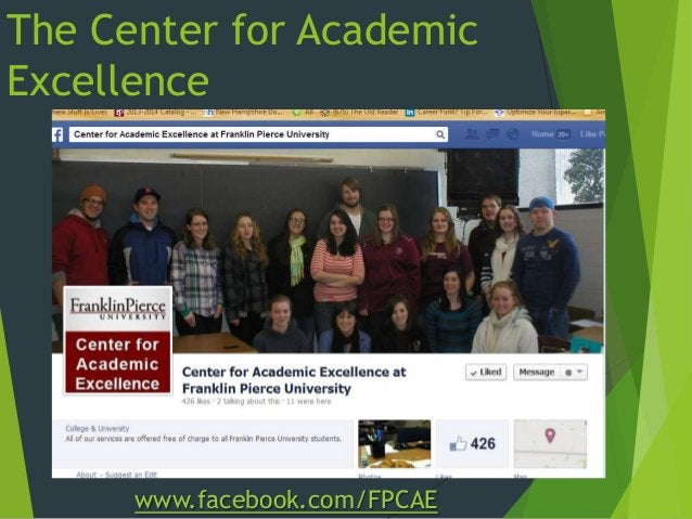 The Center for Academic Excellence www.facebook.com/FPCAE