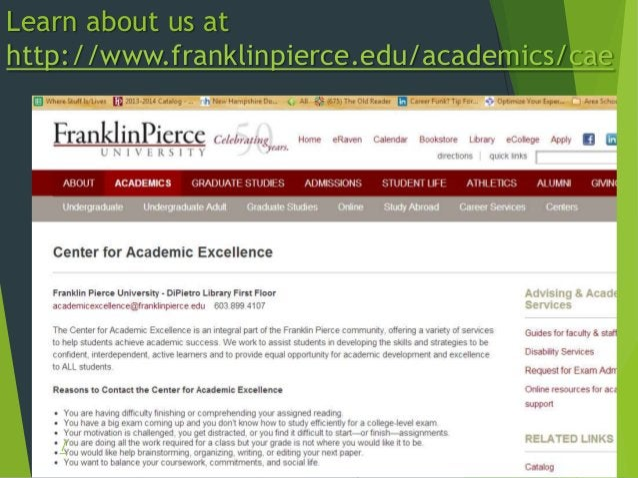 Learn about us at http://www.franklinpierce.edu/academics/cae /