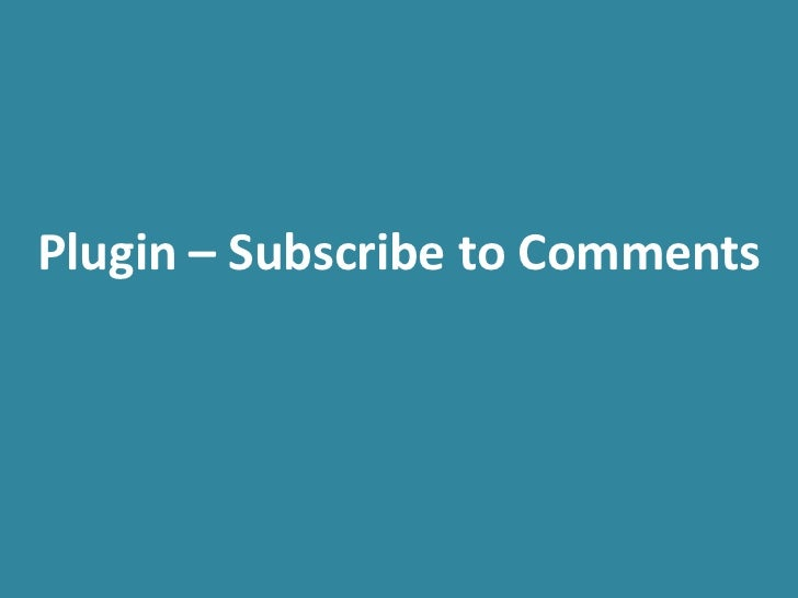 Plugin – Subscribe to Comments