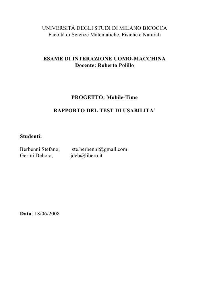 UNIVERSITÀ DEGLI STUDI DI MILANO BICOCCA               Facoltà di Scienze Matematiche, Fisiche e Naturali                E...
