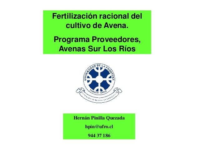 Fertilización racional del    cultivo de Avena.Programa Proveedores, Avenas Sur Los Ríos      Hernán Pinilla Quezada      ...