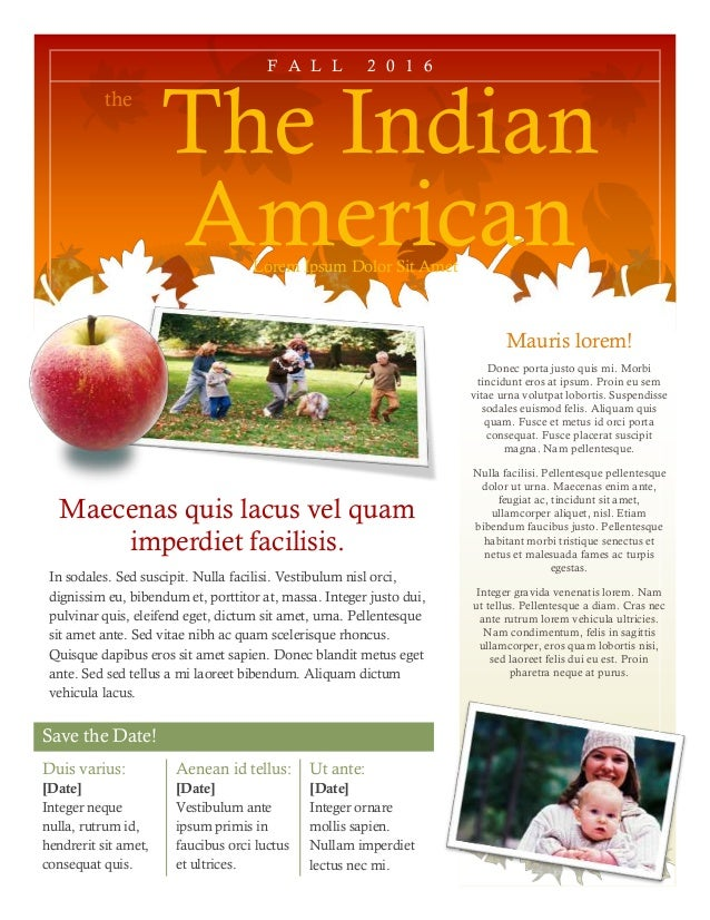 Save the Date! the The Indian AmericanLorem Ipsum Dolor Sit Amet Mauris lorem! Donec porta justo quis mi. Morbi tincidunt ...