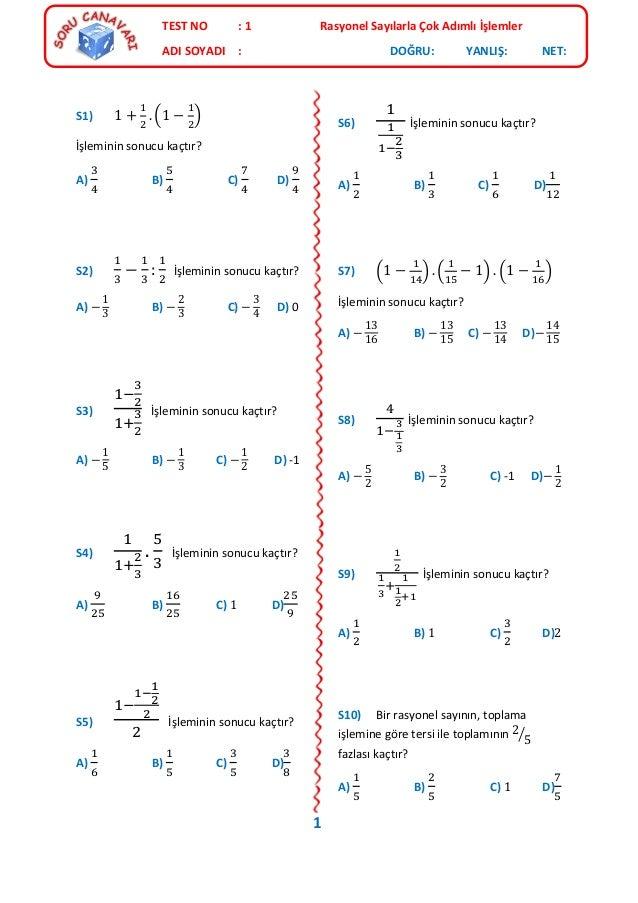 Test 1 Rasyonel Sayılarla çok Adımlı Işlemler