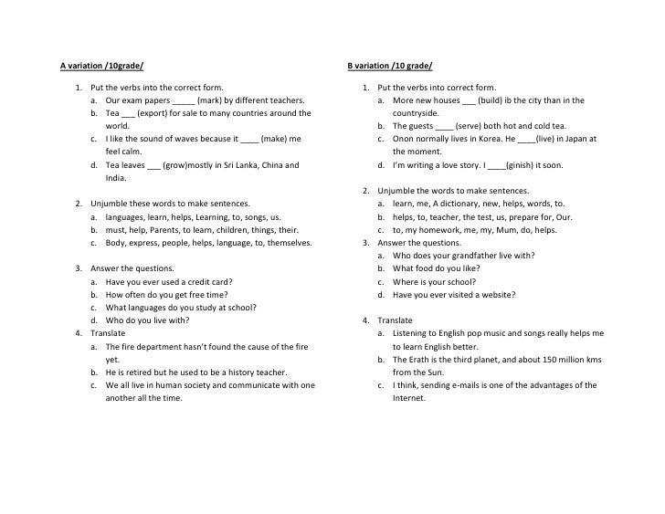 A variation /10grade/                                              B variation /10 grade/   1. Put the verbs into the corr...