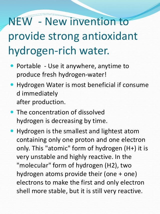 NEW - New invention to provide strong antioxidant hydrogen-rich water.  Portable - Use it anywhere, anytime to produce fr...