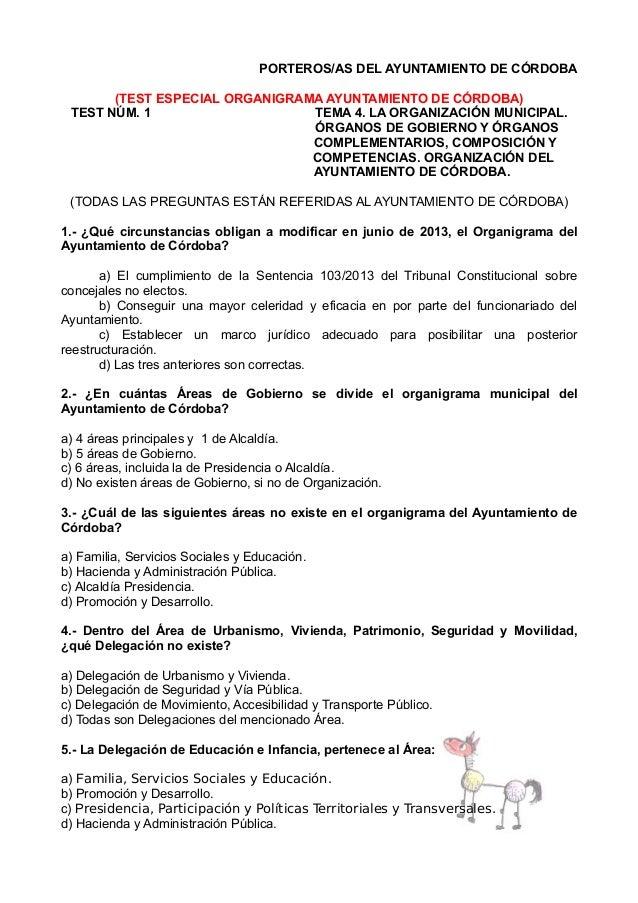 PORTEROS/AS DEL AYUNTAMIENTO DE CÓRDOBA (TEST ESPECIAL ORGANIGRAMA AYUNTAMIENTO DE CÓRDOBA) TEST NÚM. 1 TEMA 4. LA ORGANIZ...