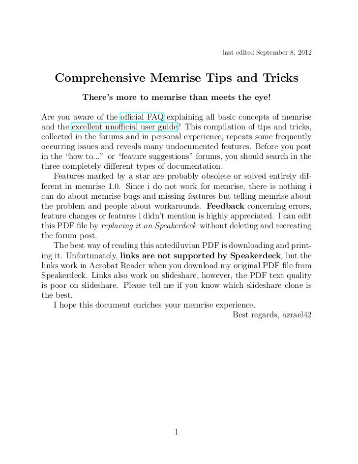 last edited September 8, 2012   Comprehensive Memrise Tips and Tricks           There's more to memrise than meets the eye...