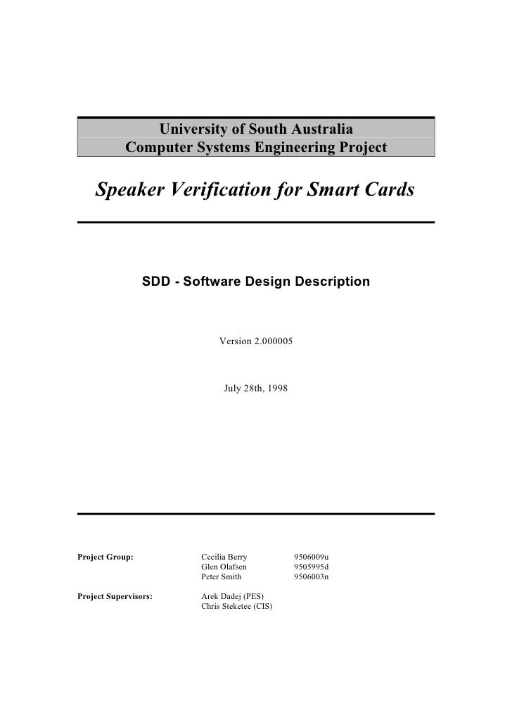 University of South Australia             Computer Systems Engineering Project      Speaker Verification for Smart Cards  ...
