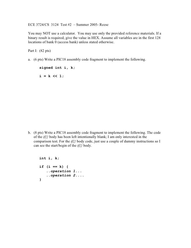 ECE 3724/CS 3124 Test #2 – Summer 2005- Reese  You may NOT use a calculator. You may use only the provided reference mater...