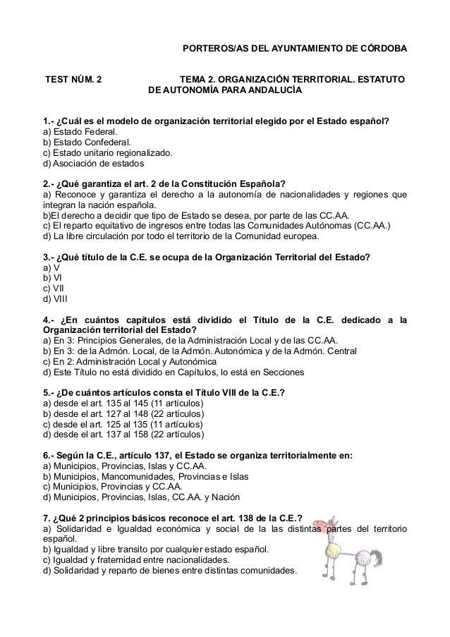 PORTEROS/AS DEL AYUNTAMIENTO DE CÓRDOBA TEST NÚM. 2  TEMA 2. ORGANIZACIÓN TERRITORIAL. ESTATUTO DE AUTONOMÍA PARA ANDALUCÍ...