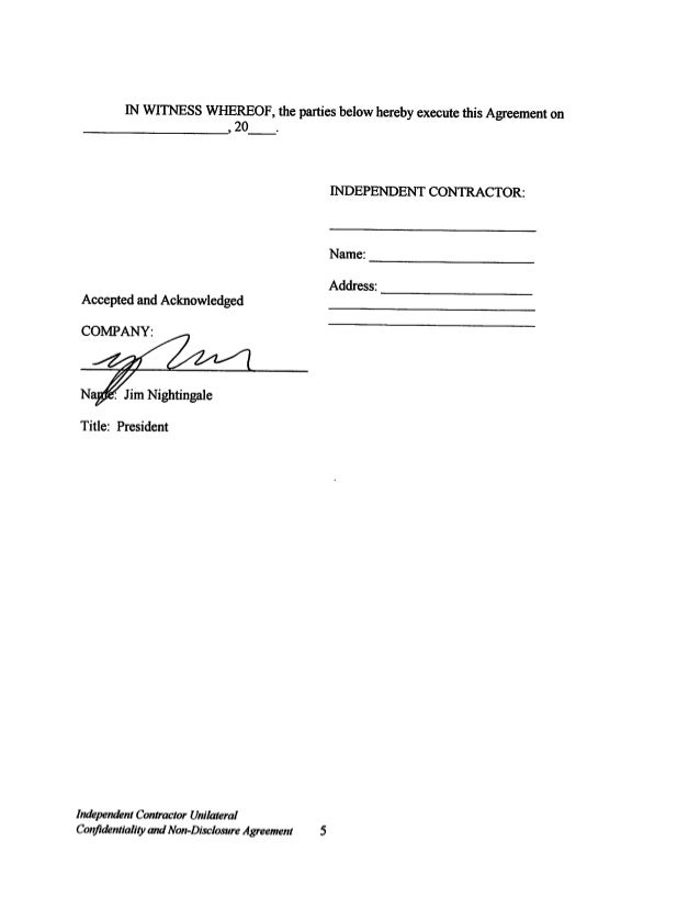 Contractor Confidentiality Agreements Free Contractor Agreement