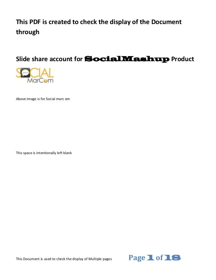 This PDF is created to check the display of the DocumentthroughSlide share account for SocialMashup ProductAbove image is ...