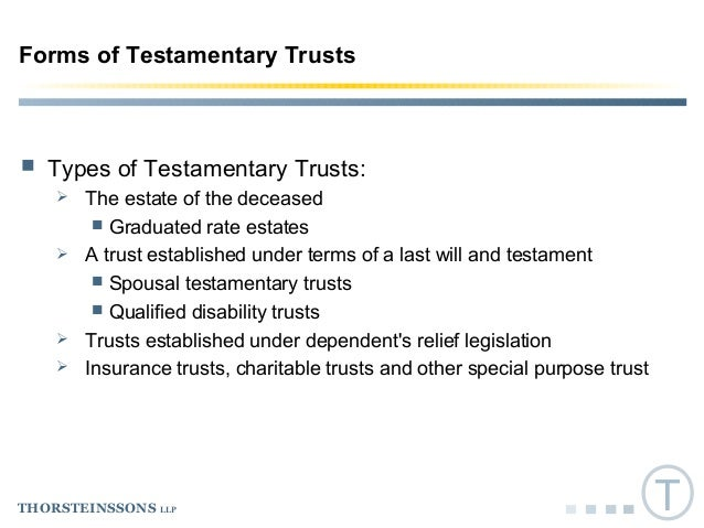 Taxation of Testamentary Trusts, October 19, 2016