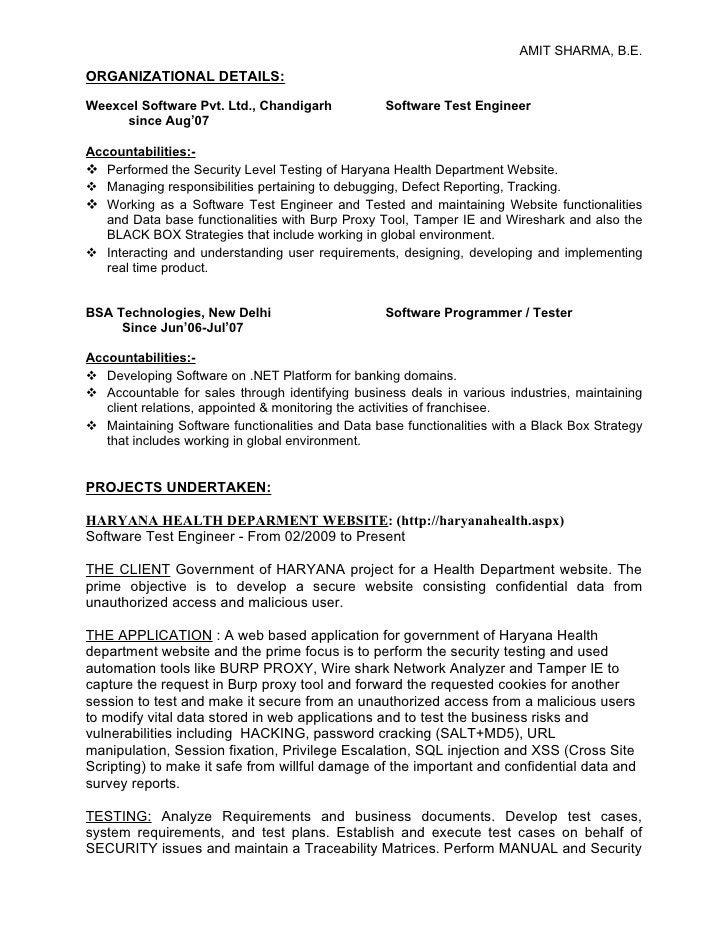 AMIT SHARMA, B.E.  ORGANIZATIONAL DETAILS:  Weexcel Software Pvt. Ltd., Chandigarh            Software Test Engineer      ...
