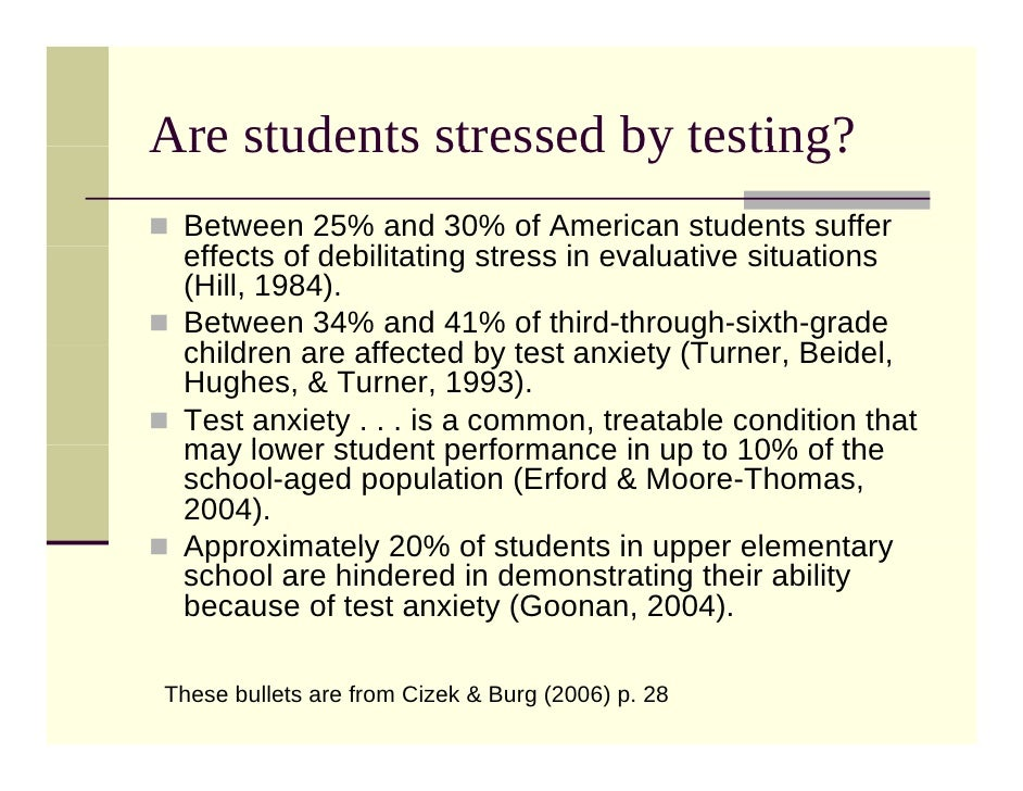 Test Anxiety on Nclb Statistics