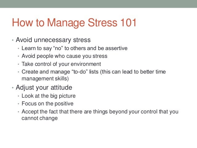The importance of avoiding stress and managing your stress level