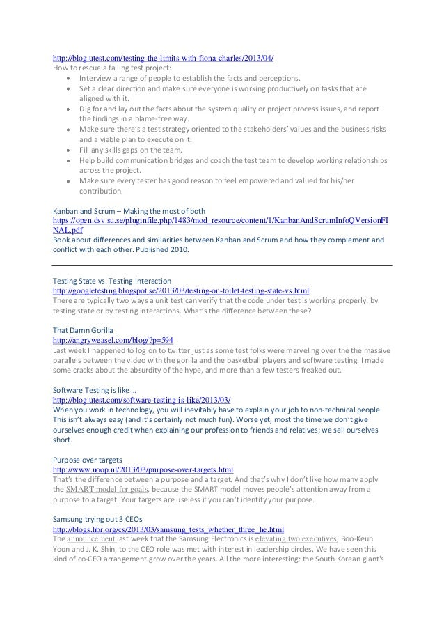 Test articles 2009 to 2013