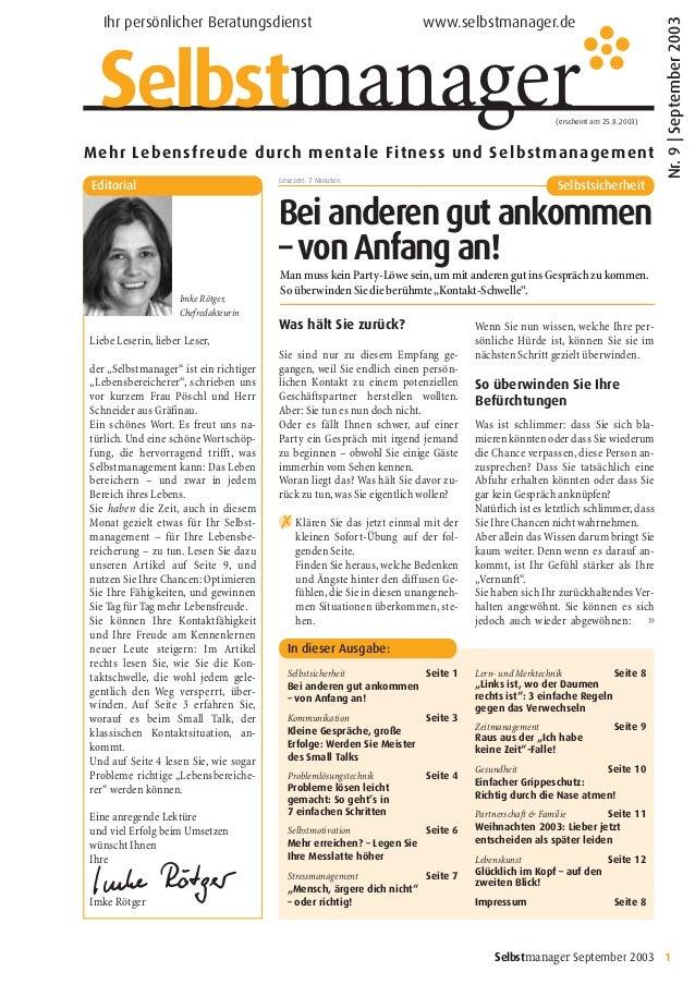 Selbstmanager September 2003 1 Mehr Lebensfreude durch mentale Fitness und Selbstmanagement (erscheint am 25.8.2003) Ihr p...