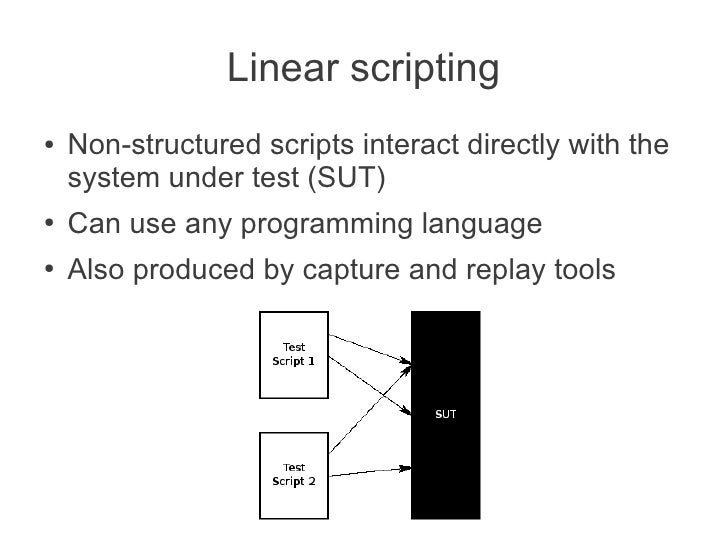 Linear scripting●   Non-structured scripts interact directly with the    system under test (SUT)●   Can use any programmin...
