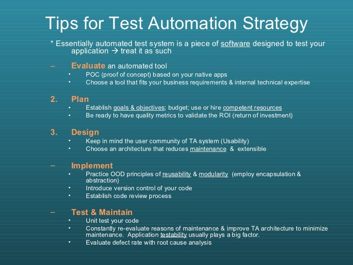 Test automation best practices with soa test approach for Test automation strategy document template