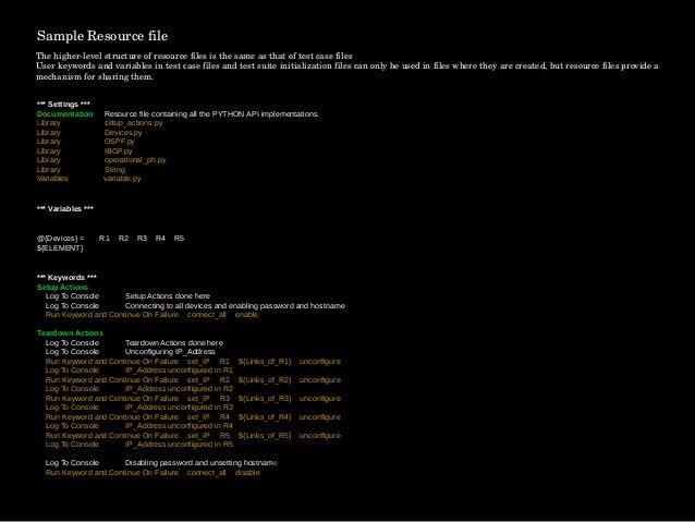 Network Protocol Testing Using Robot Framework