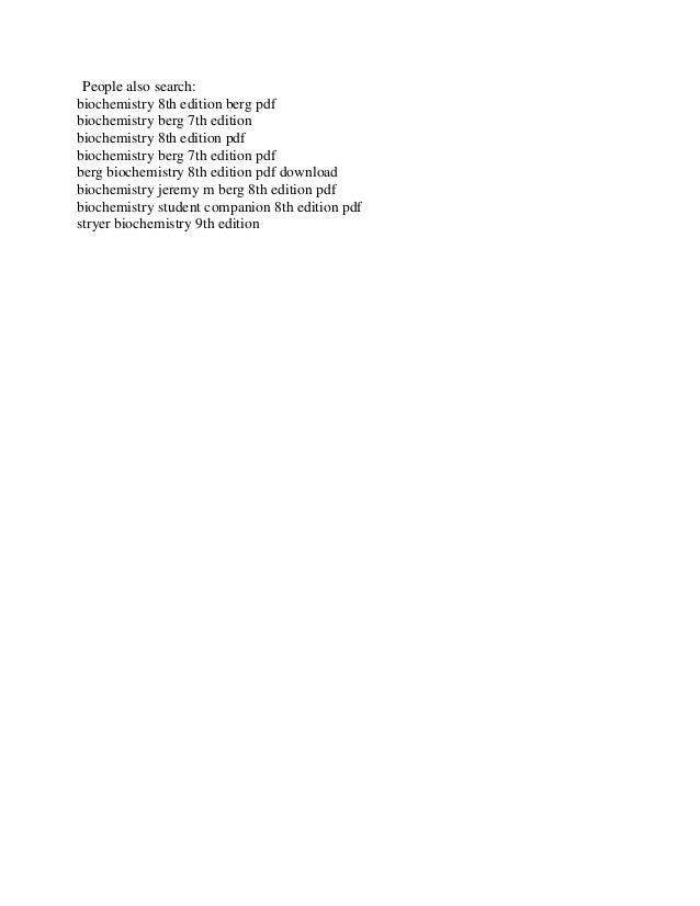 Edition stryer pdf 8th biochemistry