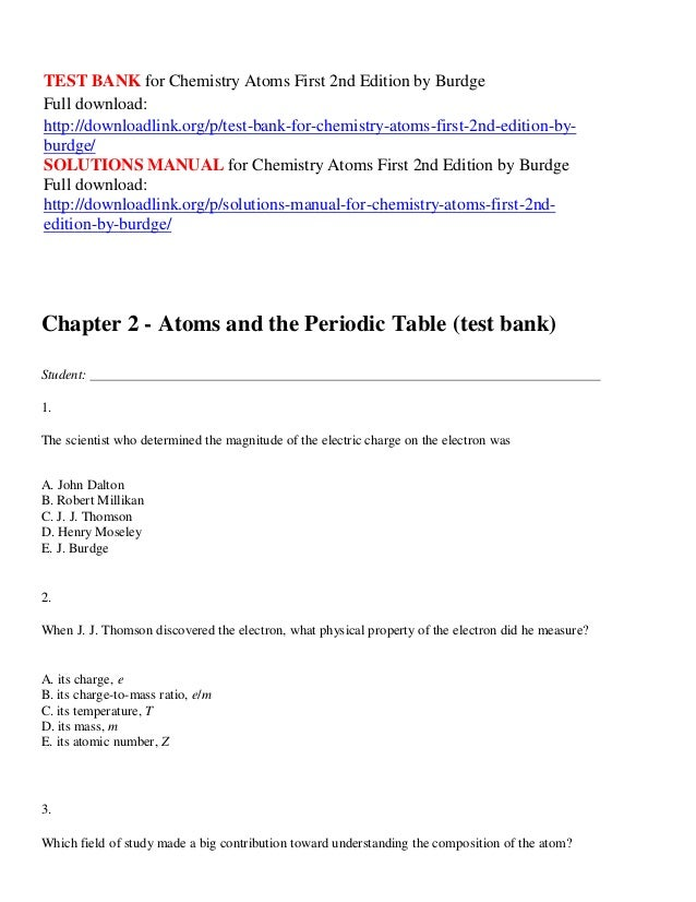 Test bank for chemistry atoms first 2nd edition by burdge test bank for chemistry atoms first 2nd edition by burdge full download http urtaz Gallery