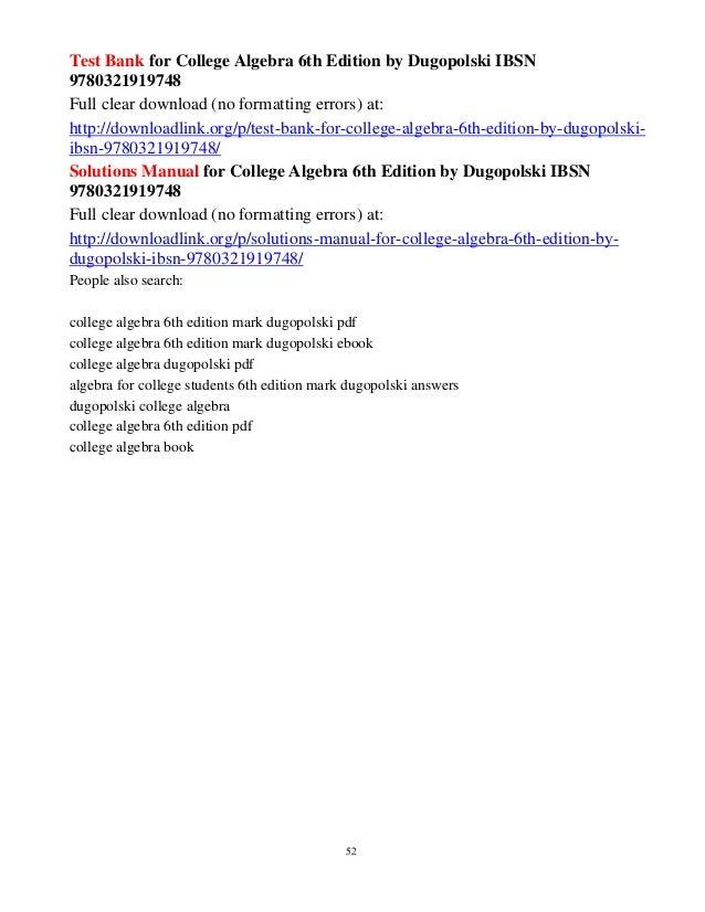 Algebra for college students 6th edition dugopolski