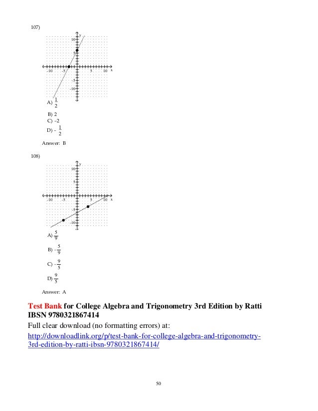 Test Bank For College Algebra And Trigonometry 3rd Edition By Ratti I