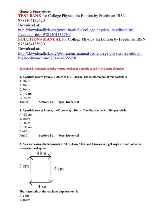 Test bank for college physics 1st edition by freedman ibsn 9781464135…