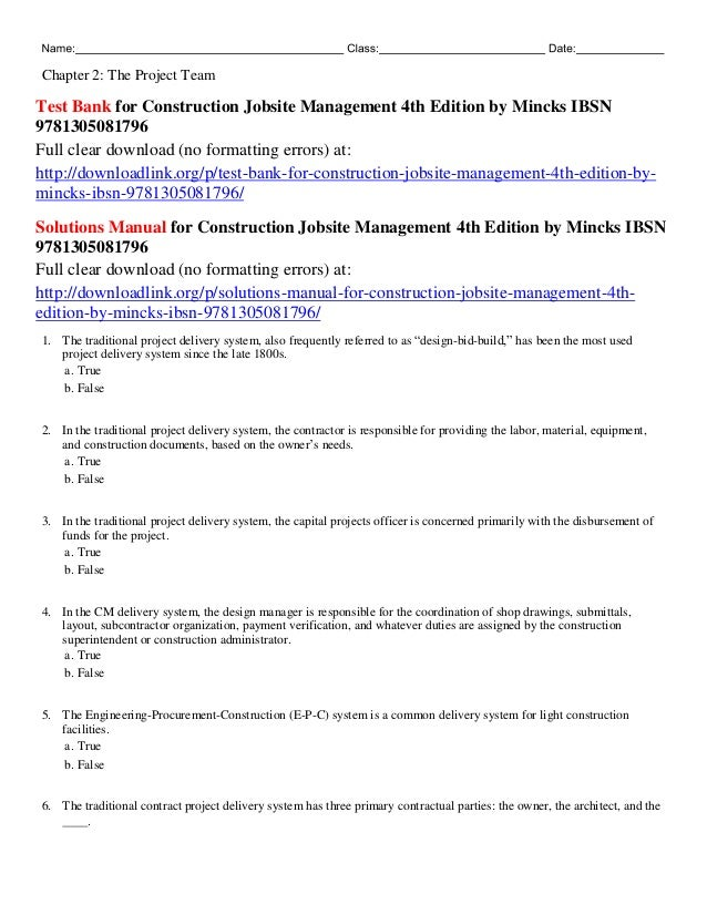 test bank for construction jobsite management 4th edition by mincks i rh slideshare net Math Solution Manual Textbook Solution Manuals