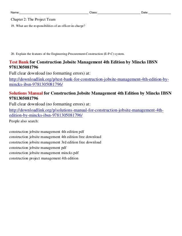 Construction Project Management 3rd Edition Pdf