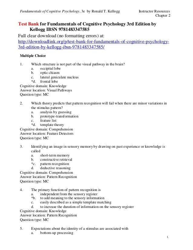 Test Bank For Fundamentals Of Cognitive Psychology 3rd