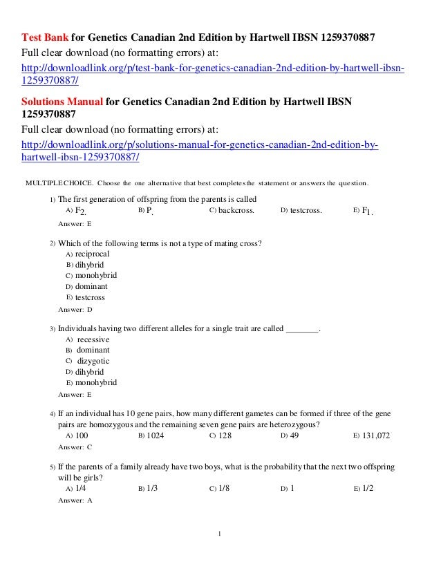 Test Bank For Genetics Canadian 2nd Edition By Hartwell Ibsn