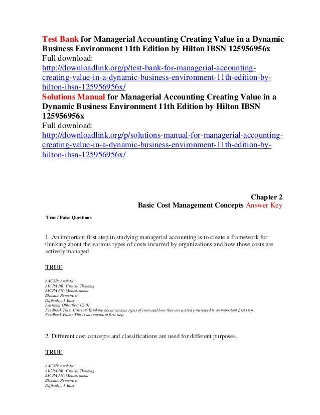 Managerial For Value Creating Test Dynamic Busin… Bank In Accounting A