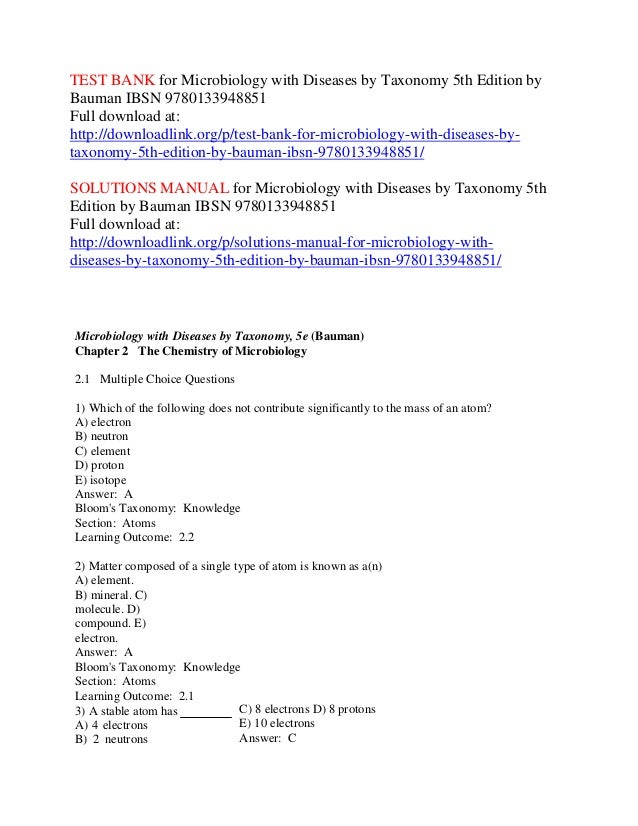 Test bank for microbiology with diseases by taxonomy 5th