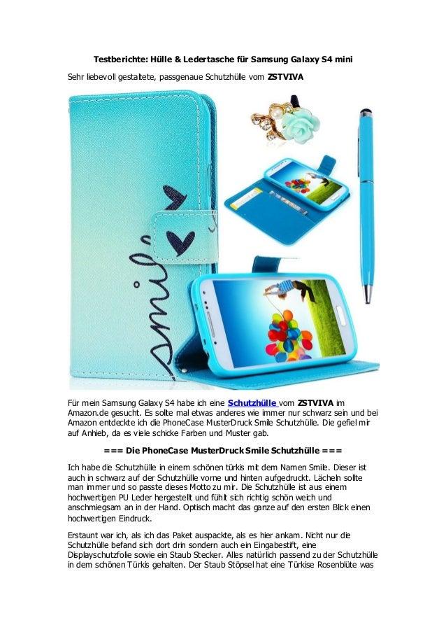 Testberichte: Hülle & Ledertasche für Samsung Galaxy S4 mini Sehr liebevoll gestaltete, passgenaue Schutzhülle vom ZSTVIVA...