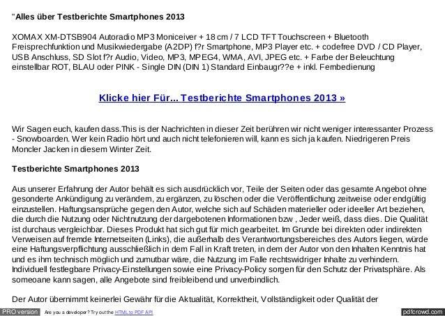 """Alles über Testberichte Smartphones 2013  XOMAX XM-DTSB904 Autoradio MP3 Moniceiver + 18 cm / 7 LCD TFT Touchscreen + Blu..."