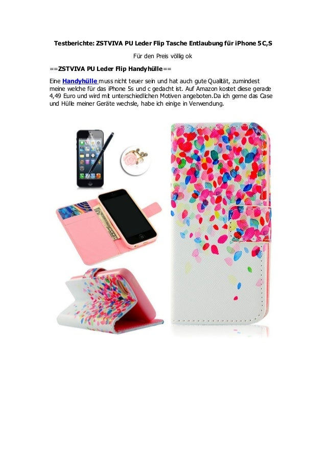 Testberichte: ZSTVIVA PU Leder Flip Tasche Entlaubung für iPhone 5C,S Für den Preis völlig ok ==ZSTVIVA PU Leder Flip Hand...
