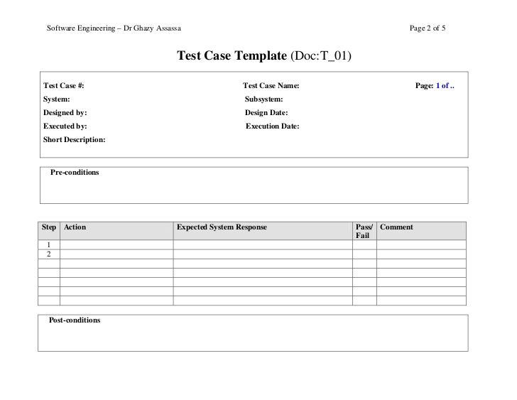 Test case template – Test Case Template