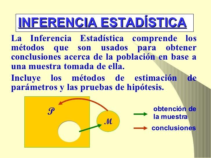 INFERENCIA ESTADÍSTICA <ul><li>La Inferencia Estadística comprende los métodos que son usados para obtener conclusiones ac...