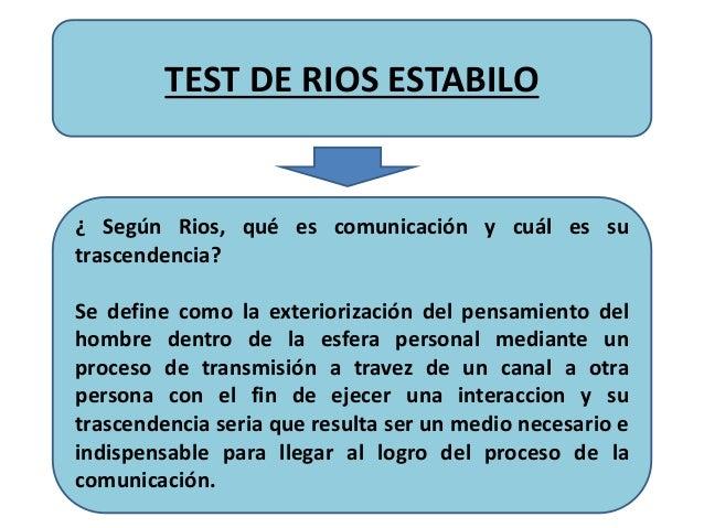 TEST DE RIOS ESTABILO ¿ Según Rios, qué es comunicación y cuál es su trascendencia? Se define como la exteriorización del ...