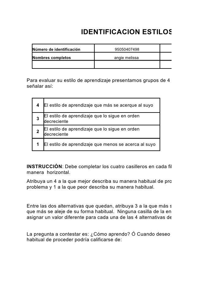 IDENTIFICACION ESTILOS DE APRENDIZ    Número de identificación                95050407498          Programa de formación  ...