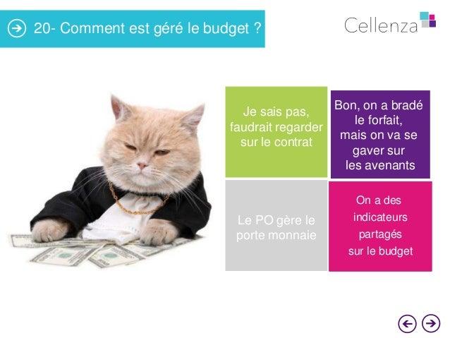 20- Comment est géré le budget ?  Je sais pas, faudrait regarder sur le contrat  Le PO gère le porte monnaie  Bon, on a br...