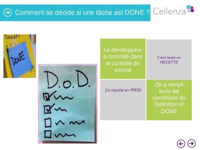 Comment se décide si une tâche est DONE ?  Le développeur a commité dans le contrôle de source  Ça marche en PROD  C'est t...