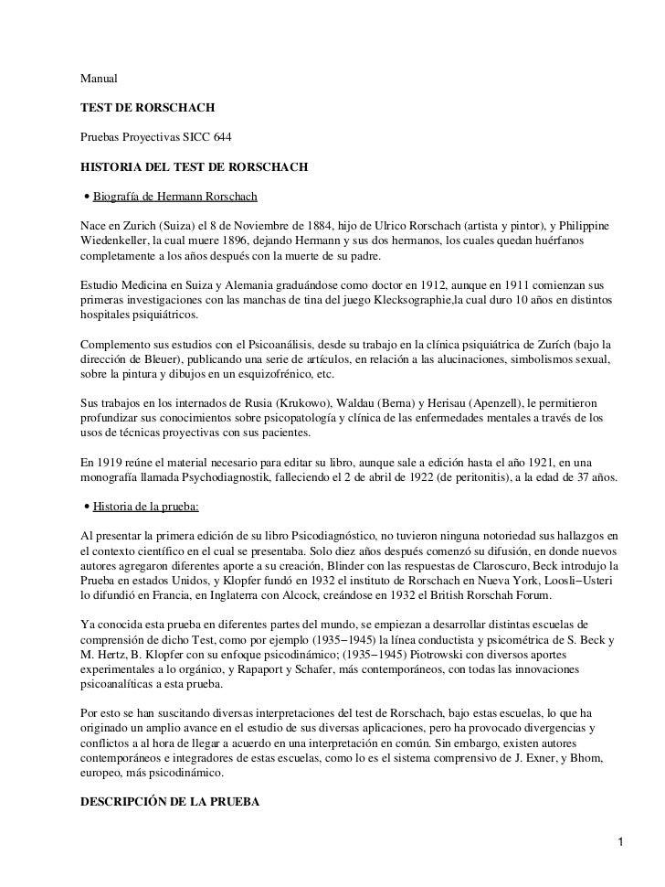 Manual  TEST DE RORSCHACH  Pruebas Proyectivas SICC 644  HISTORIA DEL TEST DE RORSCHACH  • Biografía de Hermann Rorschach ...